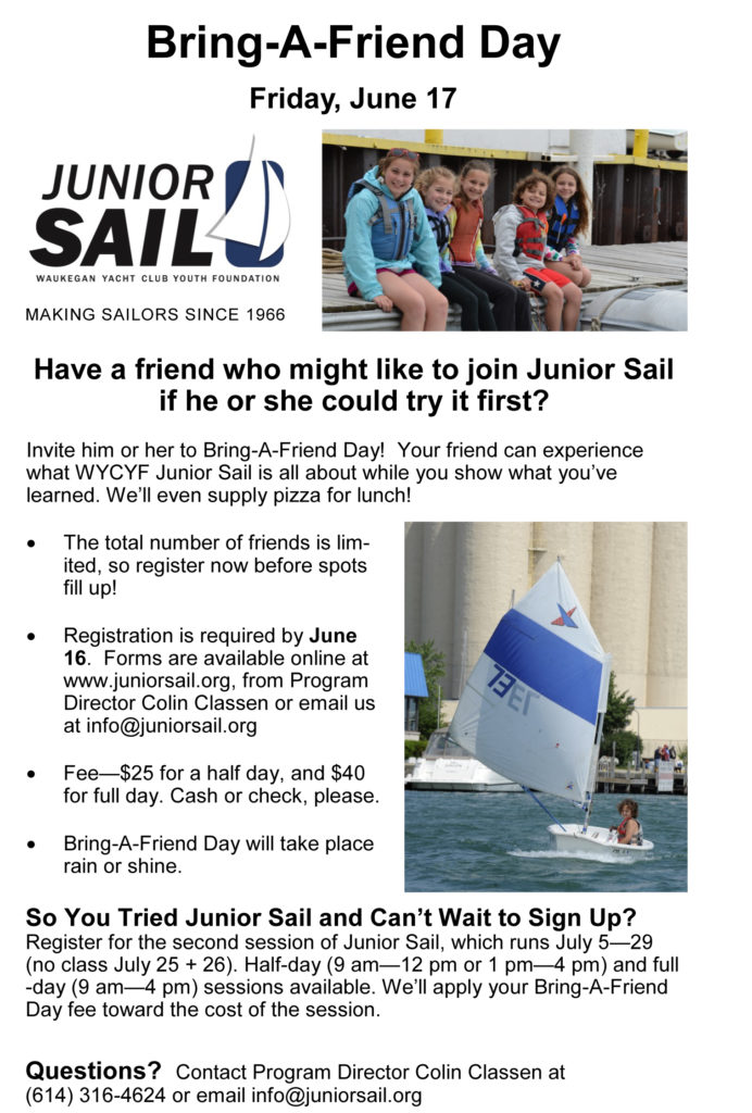 This is an opportunity to try WYCYF Junior Sail with your friends